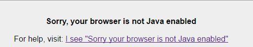 screenshot of java error